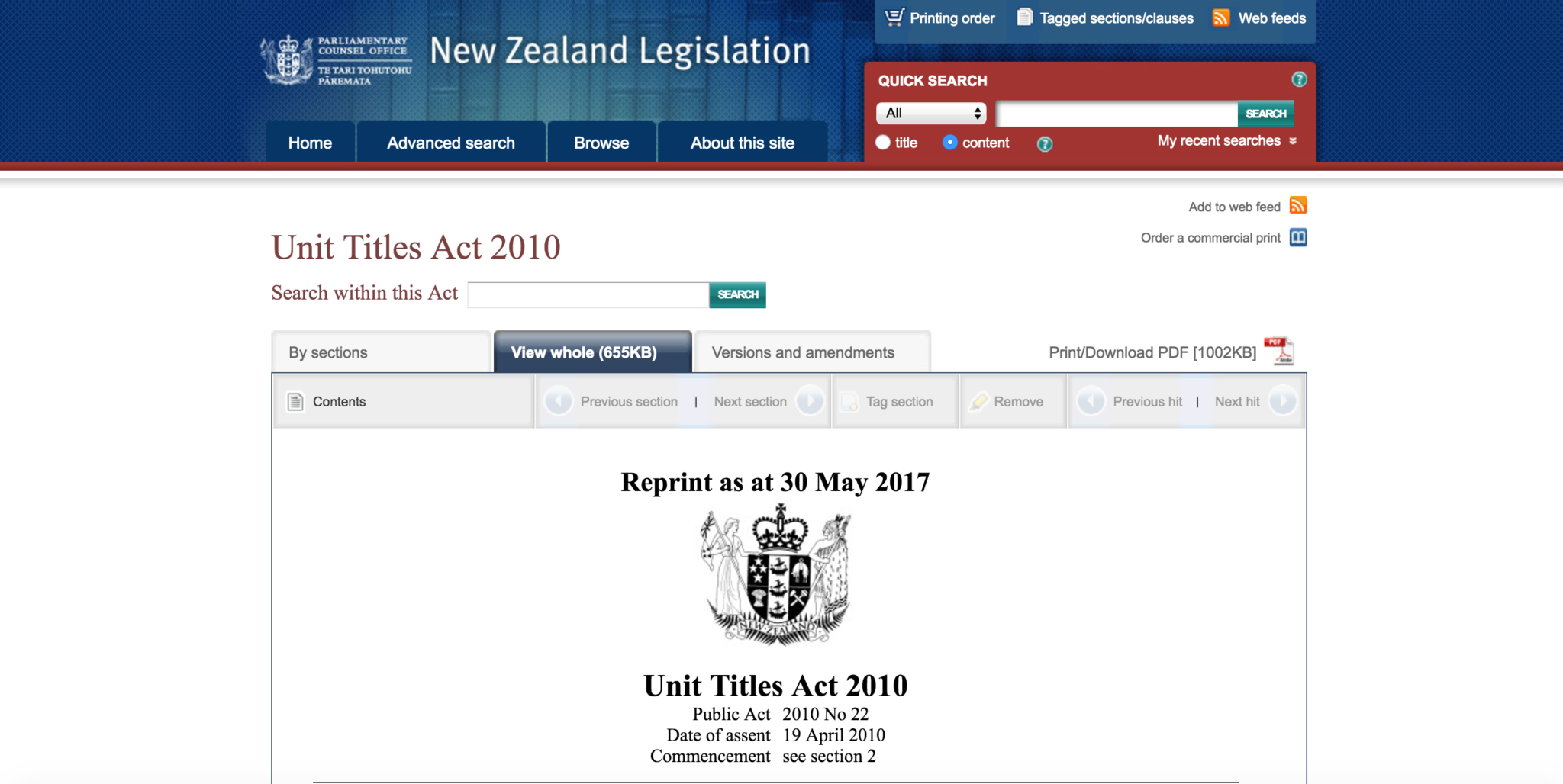 Unit Titles Act 2010
